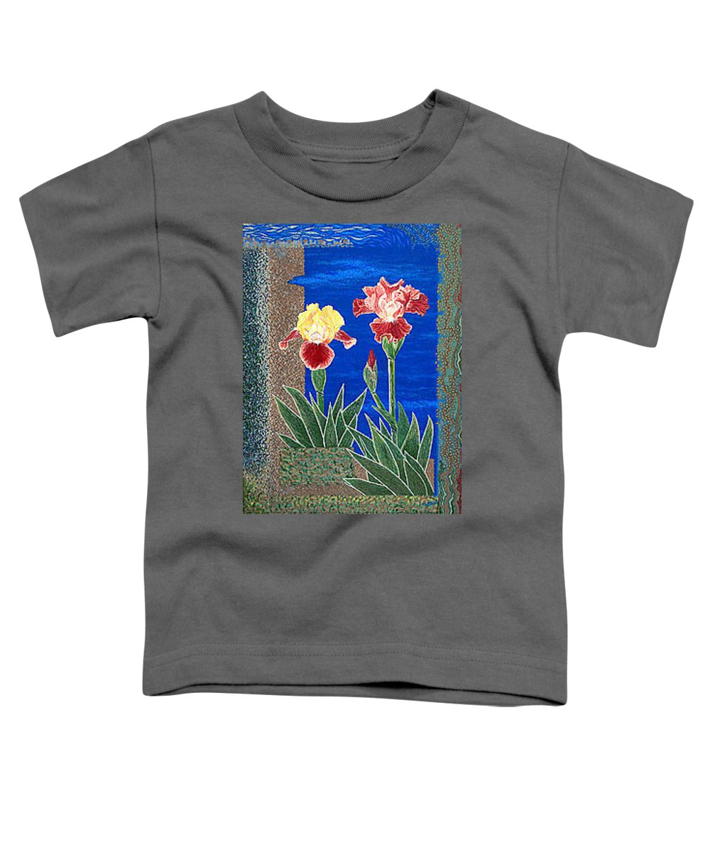 Irises Toddler T-Shirt featuring the painting Bearded Irises Cheerful Fine Art Print Giclee High Quality Exceptional Color by Baslee Troutman