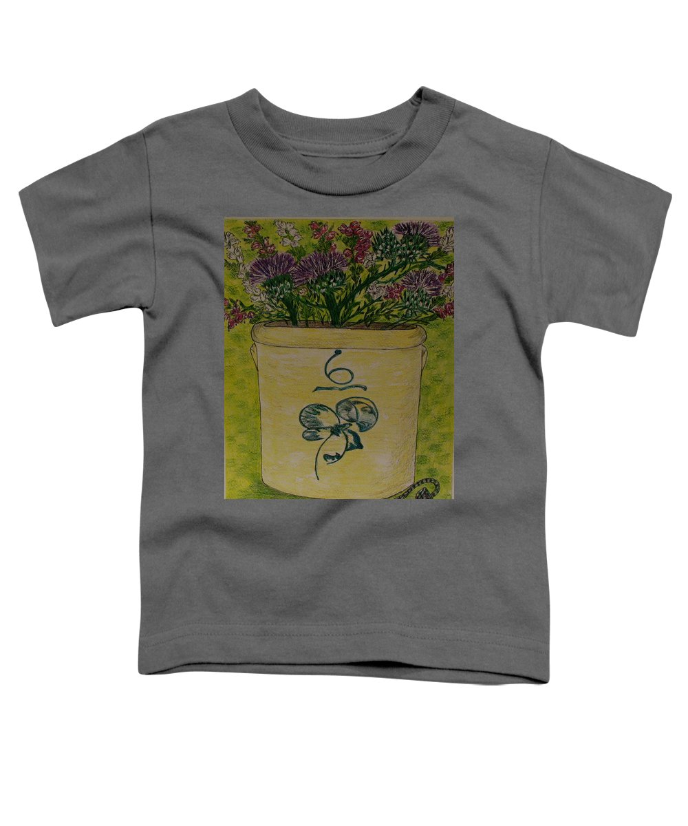 Bee Sting Crock Toddler T-Shirt featuring the painting Bee Sting Crock With Good Luck Bow Heather And Thistles by Kathy Marrs Chandler
