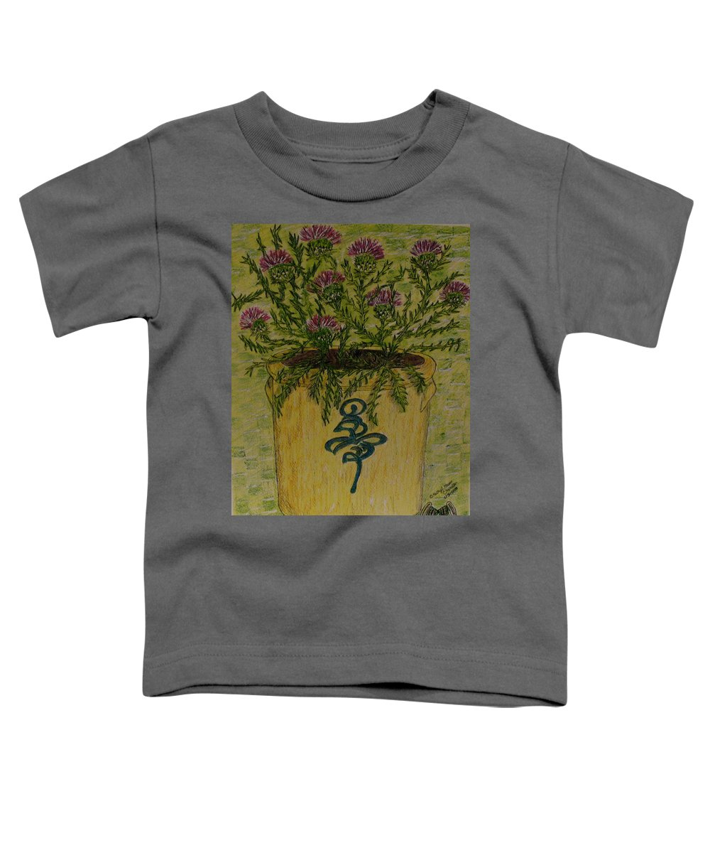 Vintage Toddler T-Shirt featuring the painting Bee Sting Crock With Good Luck Horseshoe by Kathy Marrs Chandler