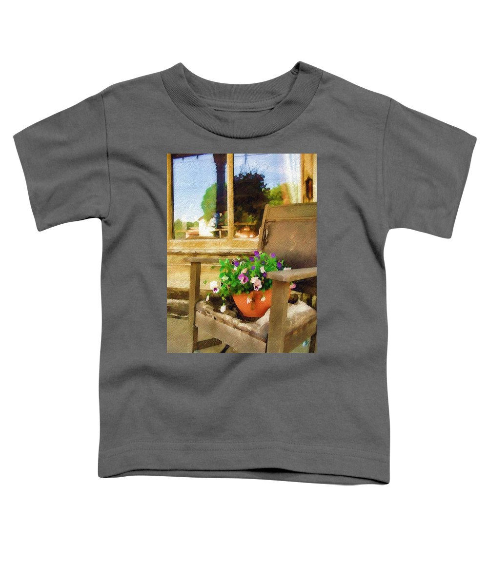 Pansies Toddler T-Shirt featuring the photograph Best Seat In The House by Sandy MacGowan
