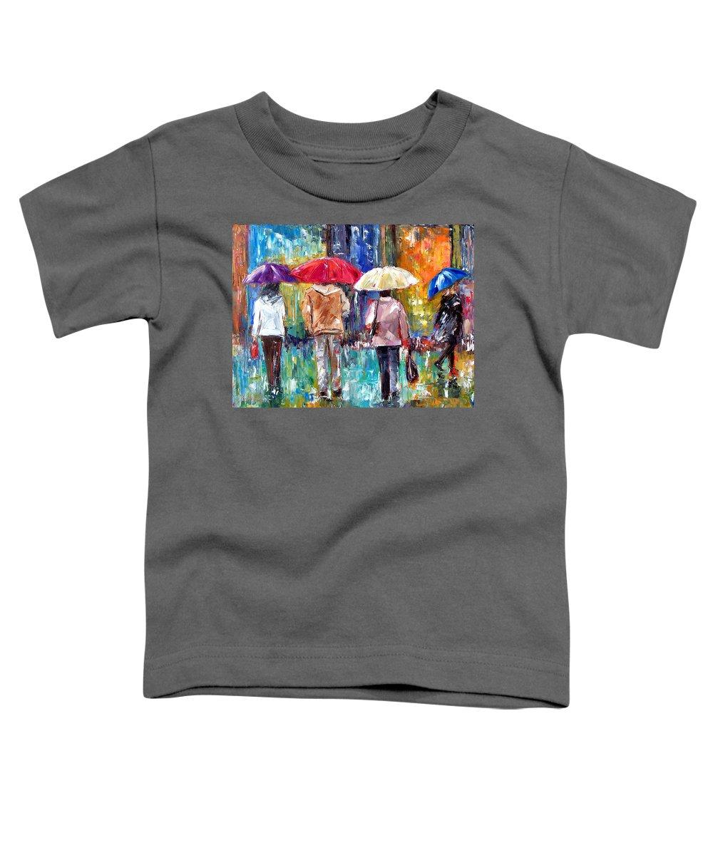 Rain Toddler T-Shirt featuring the painting Big Red Umbrella by Debra Hurd
