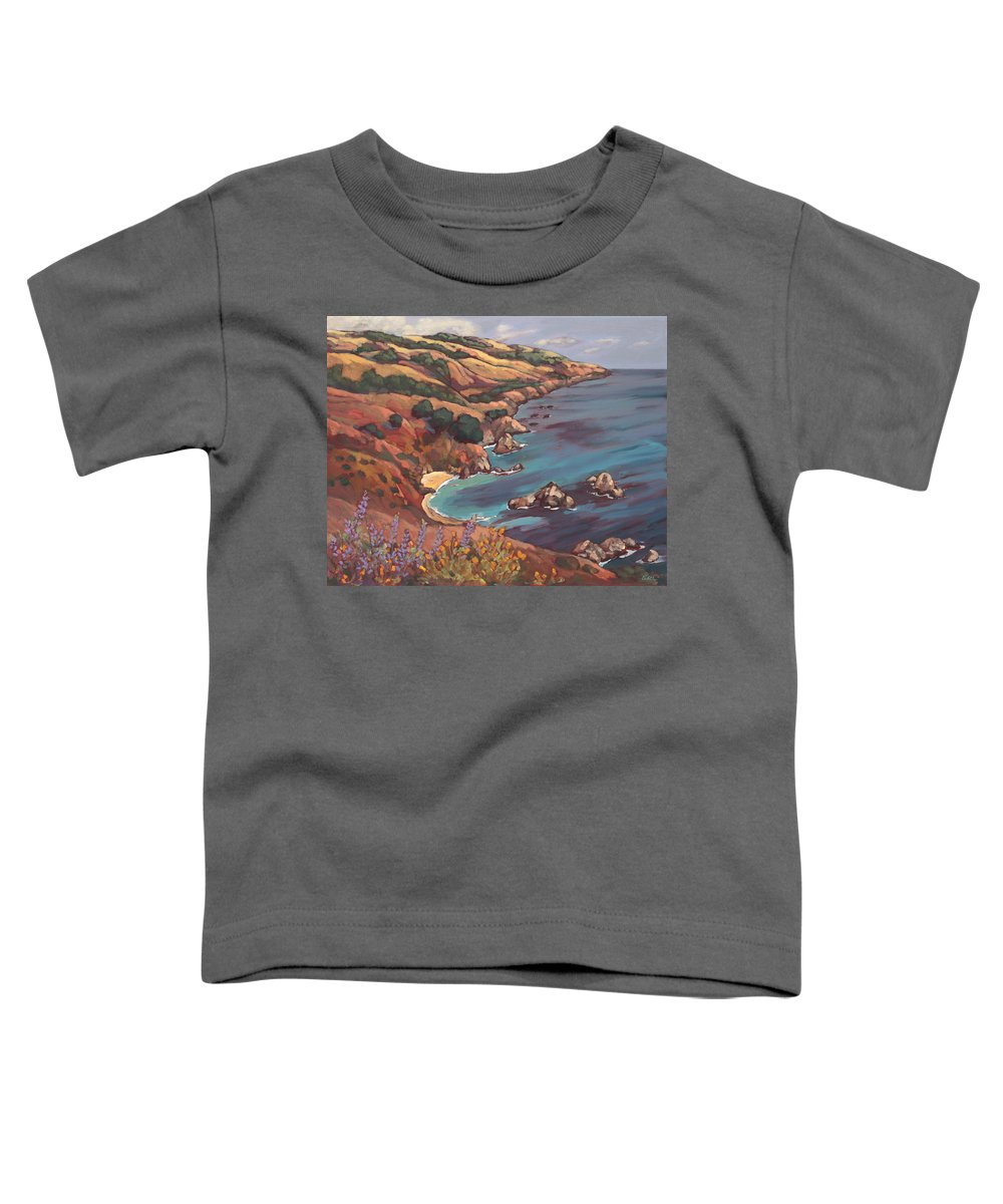 Ocean Toddler T-Shirt featuring the painting Big Sur Coast by Peggy Olsen