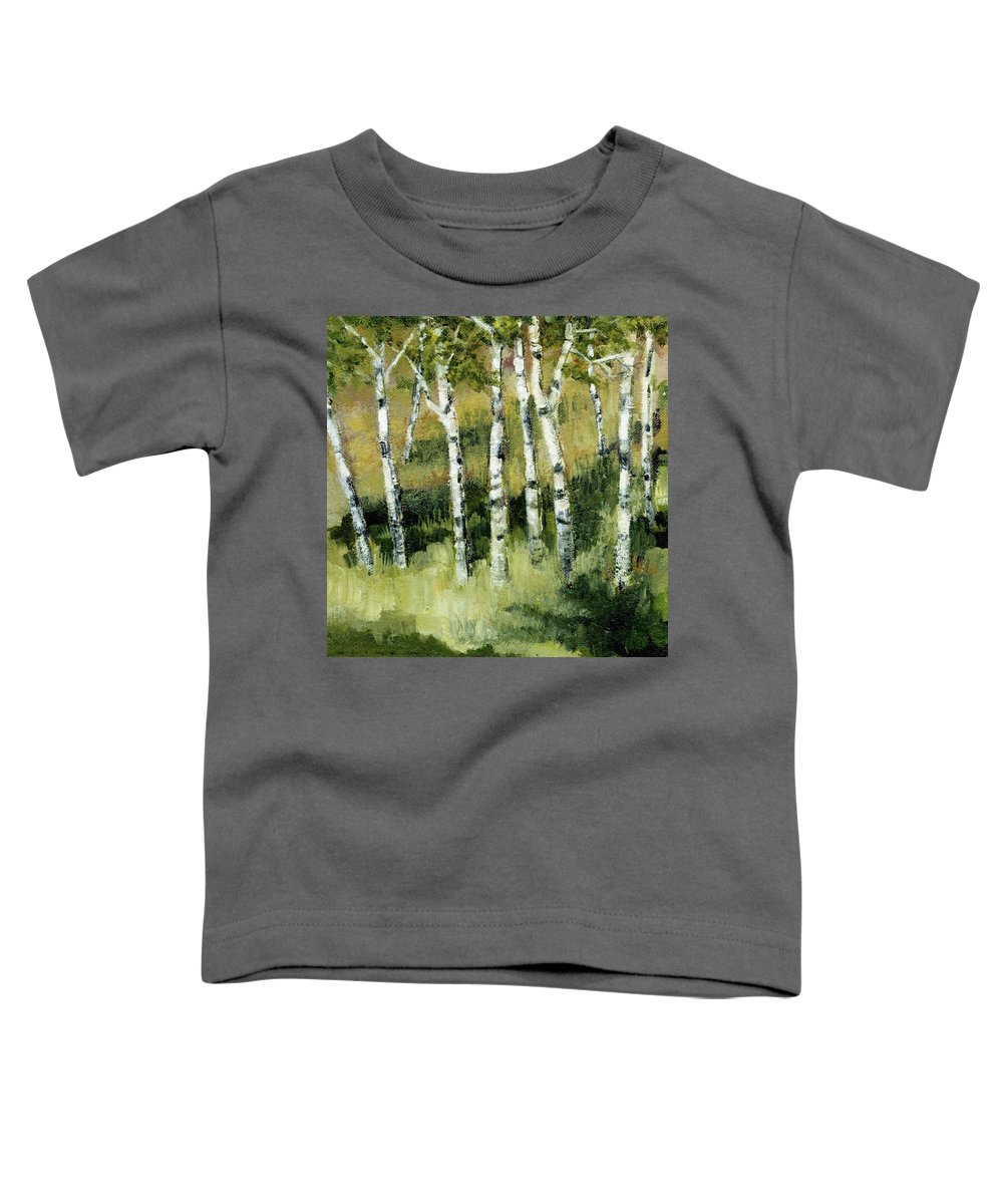 Trees Toddler T-Shirt featuring the painting Birches On A Hill by Michelle Calkins