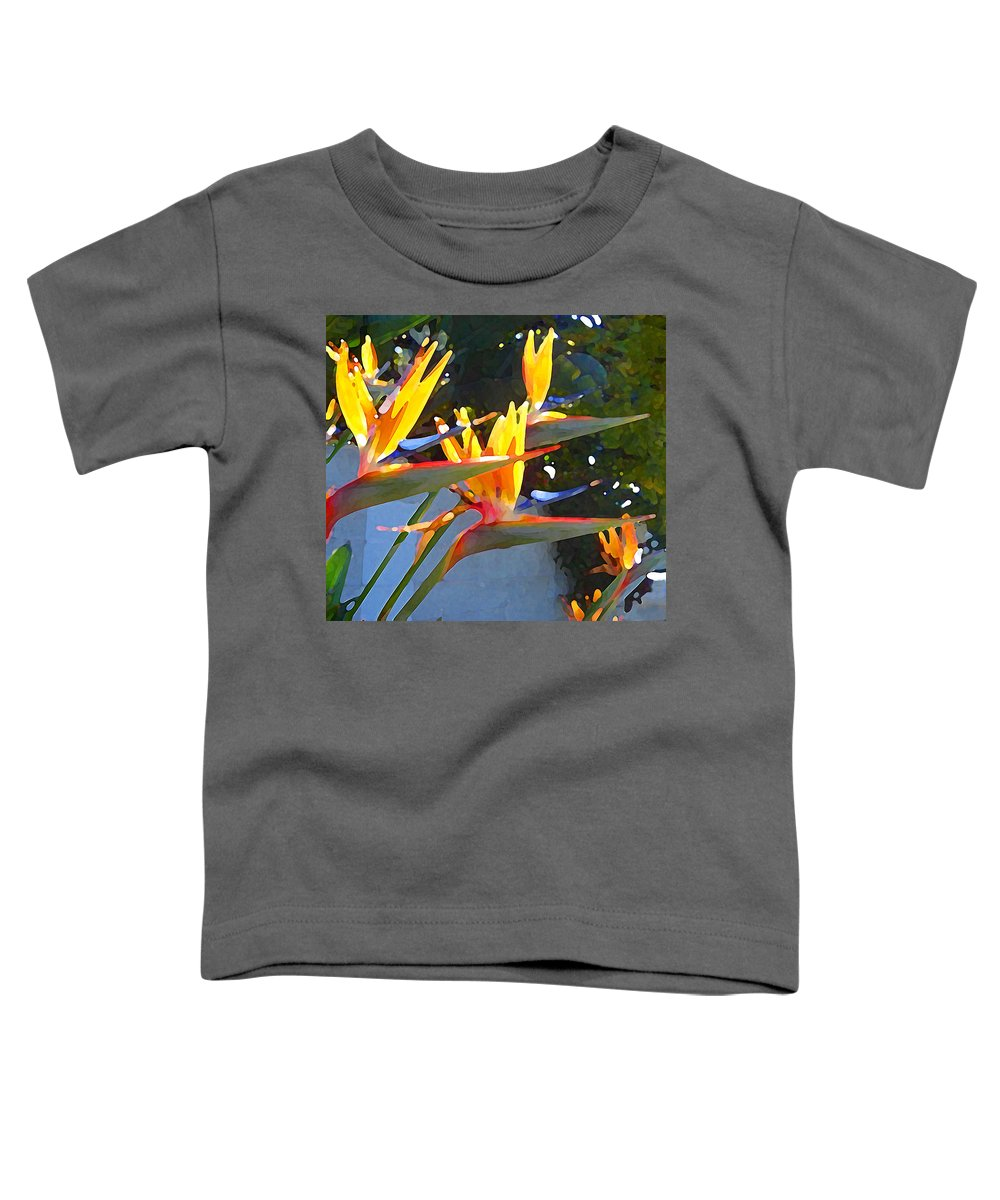 Abstract Toddler T-Shirt featuring the painting Bird Of Paradise Backlit By Sun by Amy Vangsgard