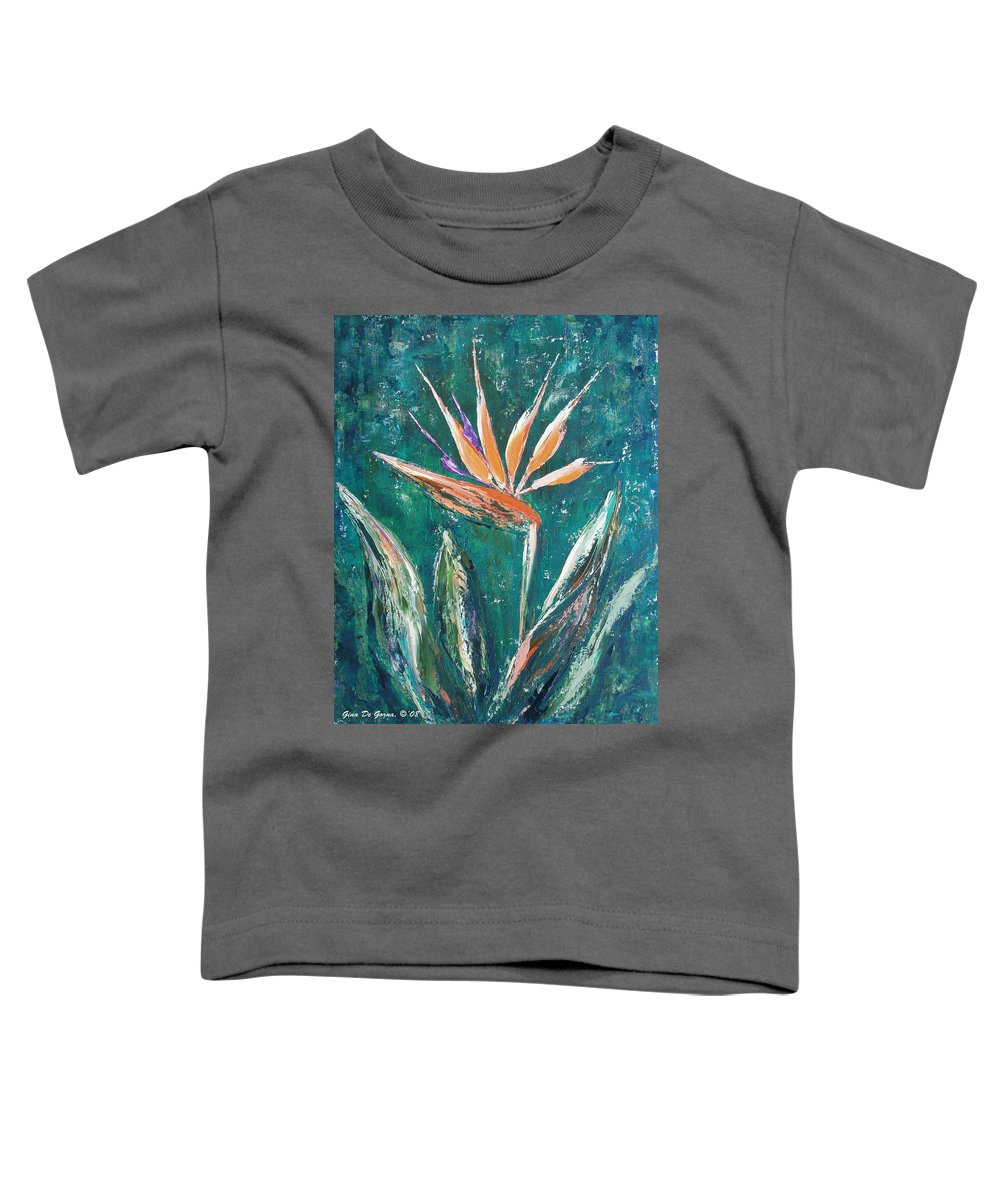 Bird Of Paradise Toddler T-Shirt featuring the painting Bird Of Paradise by Gina De Gorna