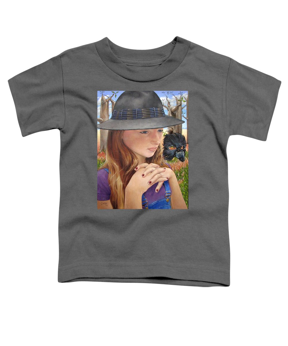 Girl Toddler T-Shirt featuring the painting Birth Of The Scheme by Jerrold Carton