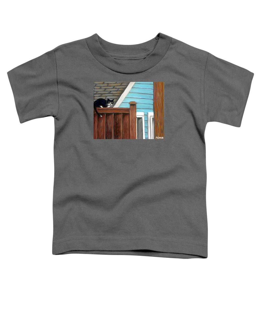Cat Toddler T-Shirt featuring the painting Black Alley Cat by Minaz Jantz