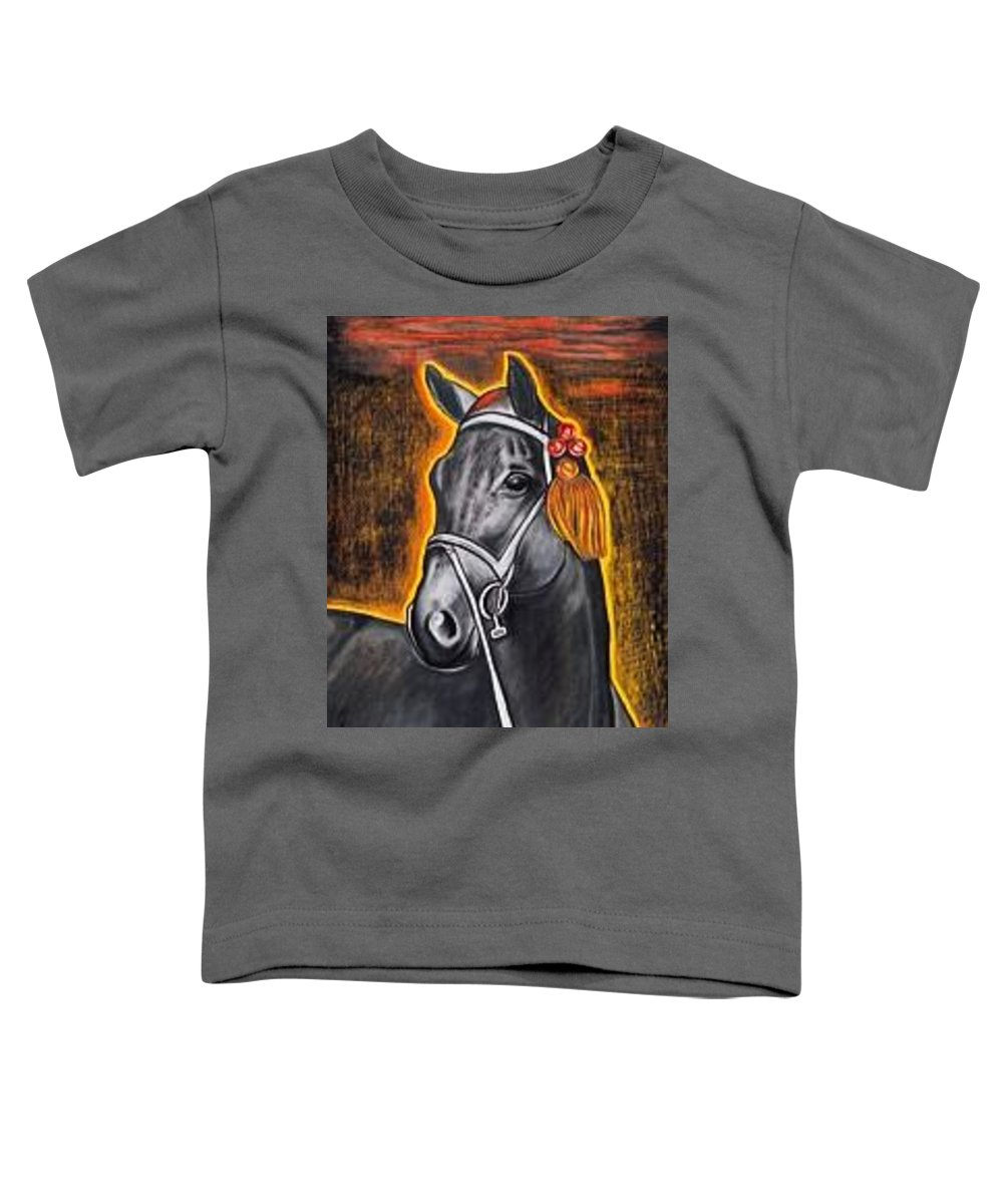 Horse Toddler T-Shirt featuring the painting Black Horse by Isabell Von Piotrowski