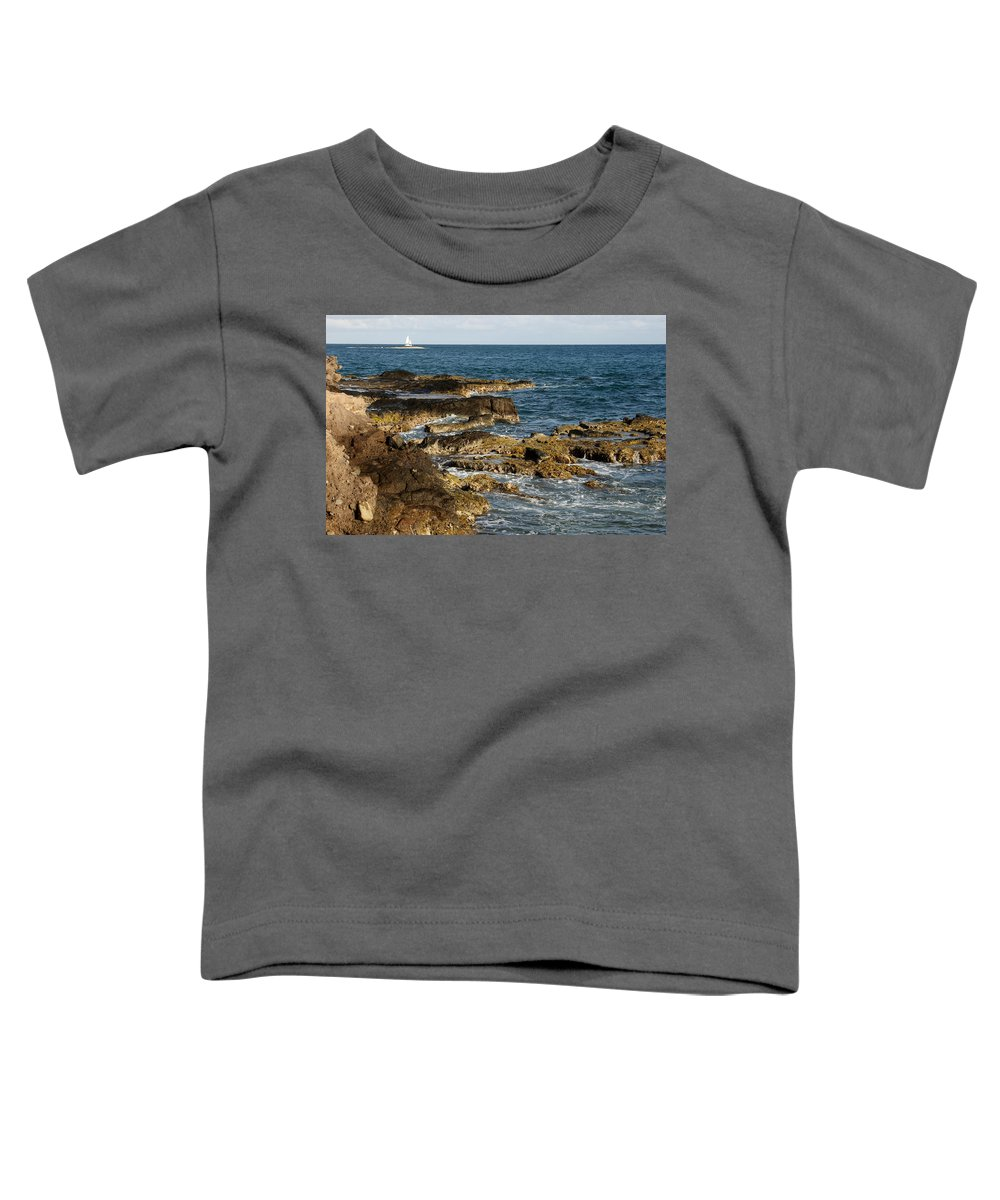 Sailboat Toddler T-Shirt featuring the photograph Black Rock Point And Sailboat by Jean Macaluso
