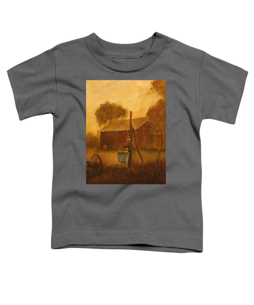 Barn; Bucket; Country Toddler T-Shirt featuring the painting Blue Bucket by Ben Kiger