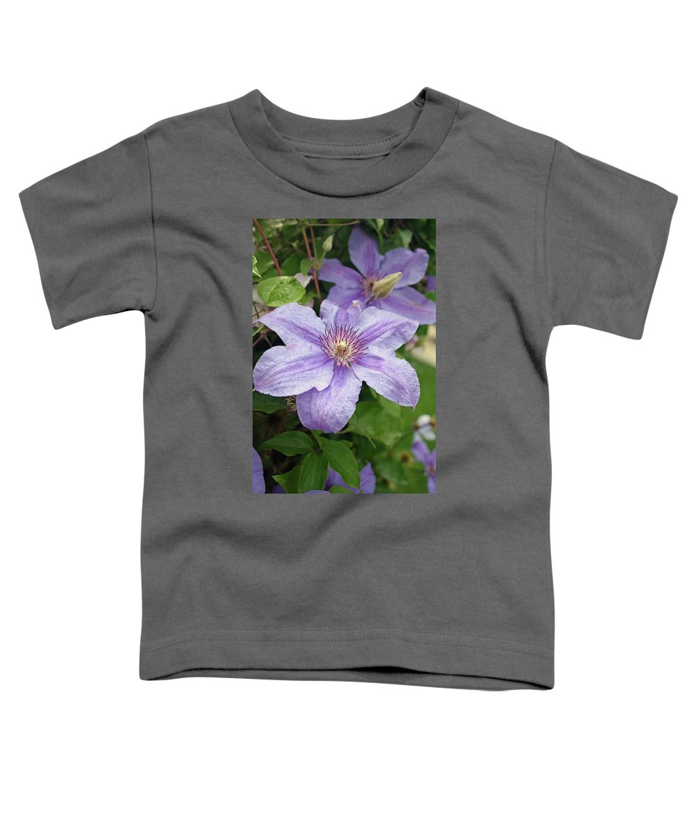 Clematis Toddler T-Shirt featuring the photograph Blue Clematis by Margie Wildblood