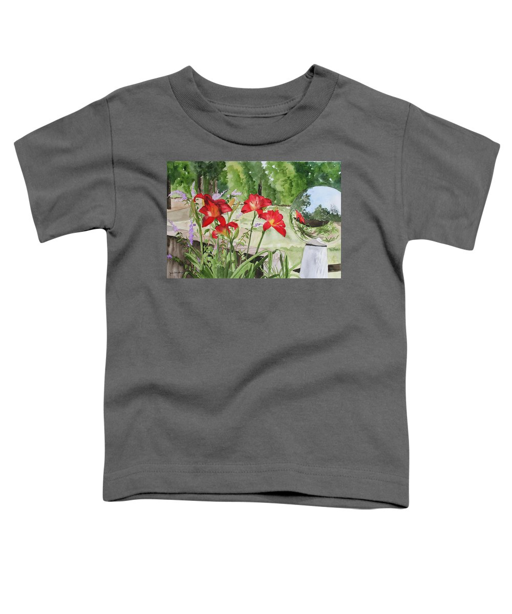 Flowers Toddler T-Shirt featuring the painting Blue Sky Reflections by Jean Blackmer