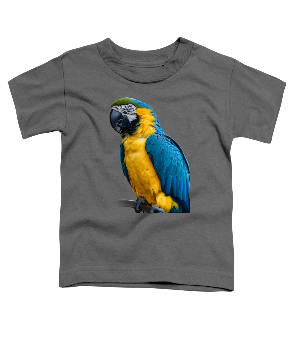 Green Toddler T-Shirt featuring the photograph Blue Yellow Macaw No.1 by Mark Myhaver