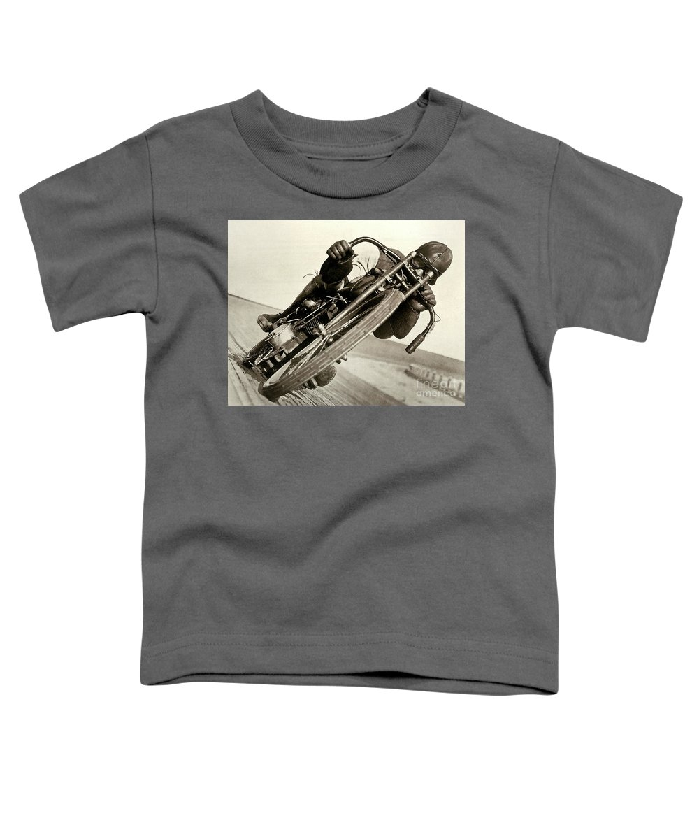 Motorcycle Toddler T-Shirt featuring the photograph Board Track Racer, 1921, motorcycle vintage by Thomas Pollart
