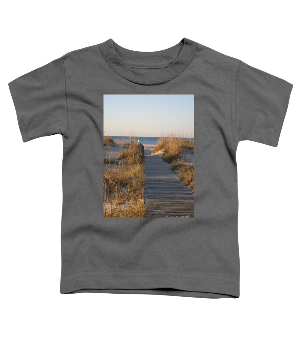 Boardwalk Toddler T-Shirt featuring the photograph Boardwalk To The Beach by Nadine Rippelmeyer