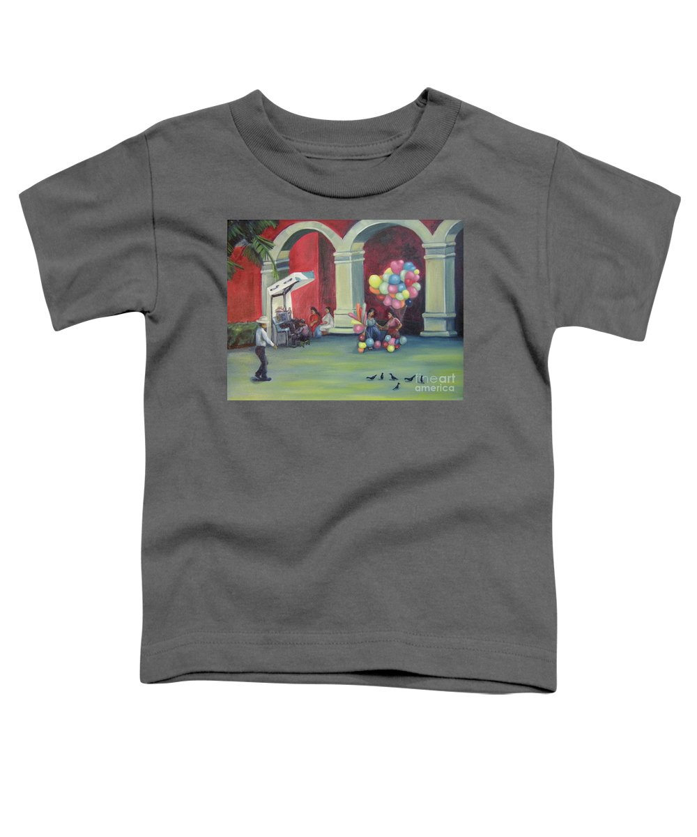 Mexico Toddler T-Shirt featuring the painting Boleo en la Plaza by Lilibeth Andre