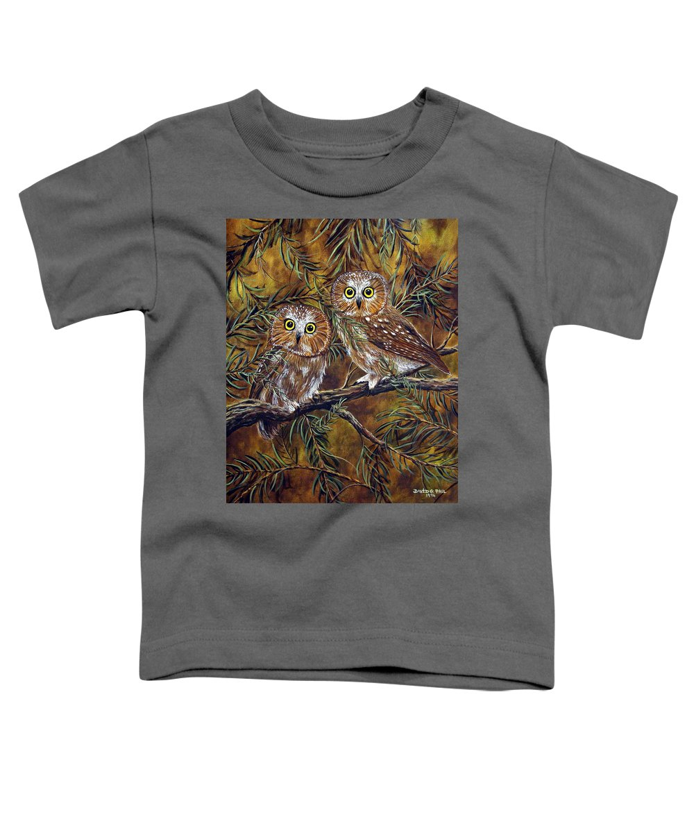 Owls Toddler T-Shirt featuring the painting Branch Buddies by David G Paul