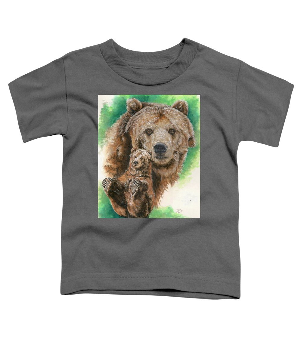 Bear Toddler T-Shirt featuring the mixed media Brawny by Barbara Keith
