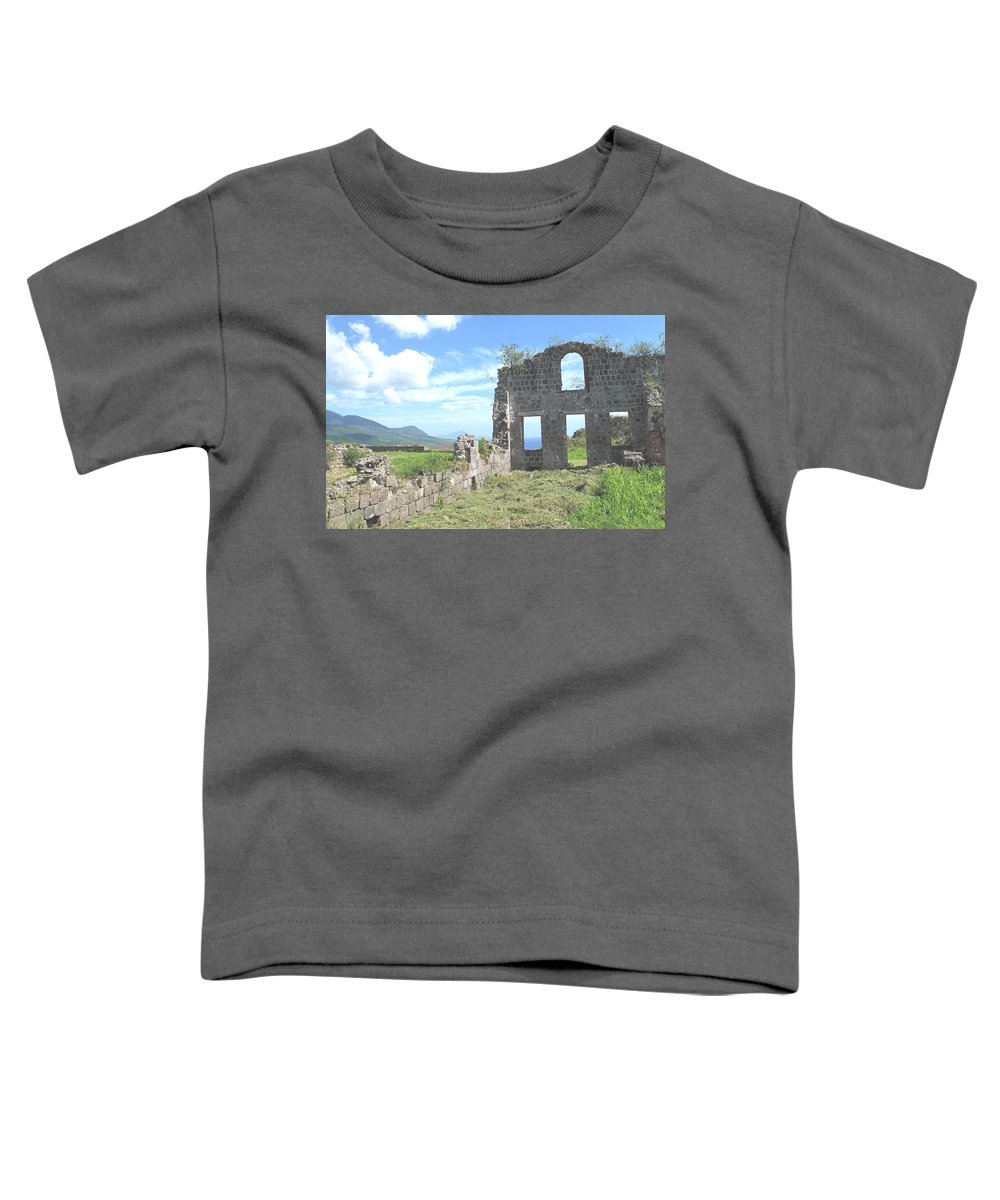 St Kitts Toddler T-Shirt featuring the photograph Brimstone Ruins by Ian MacDonald