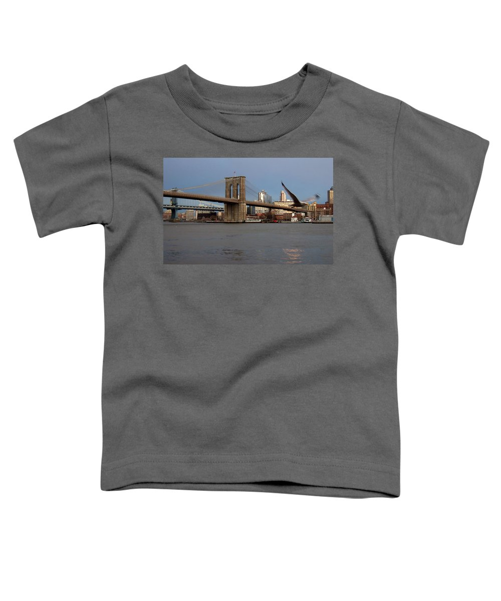 Brooklyn Bridge Toddler T-Shirt featuring the photograph Brooklyn Bridge And Bird In Flight by Anita Burgermeister