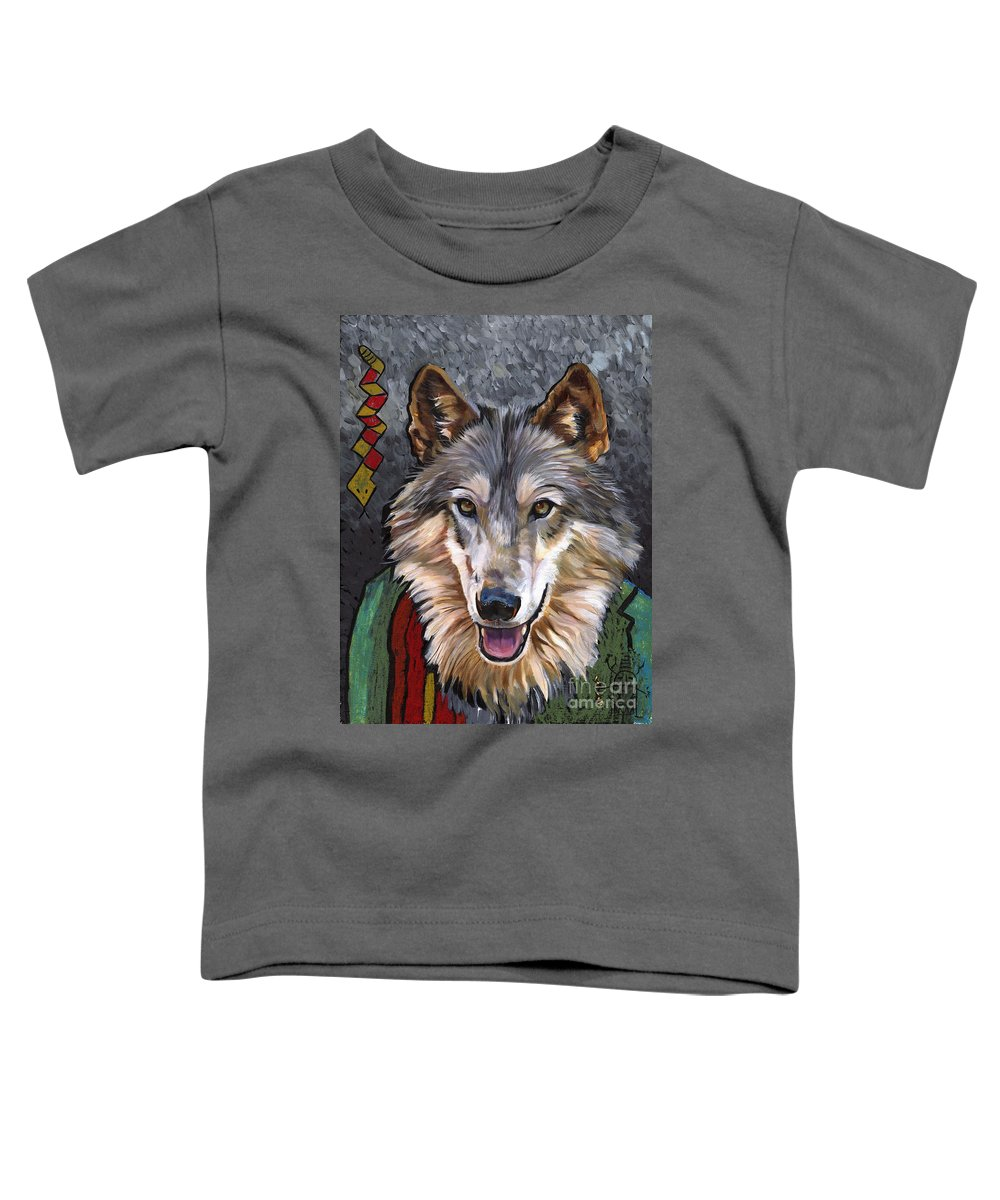 Wolf Toddler T-Shirt featuring the painting Brother Wolf by J W Baker