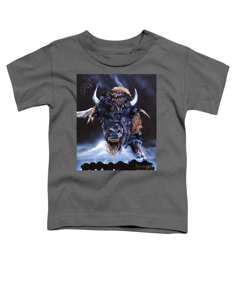 Buffalo Toddler T-Shirt featuring the painting Buffalo Medicine by J W Baker