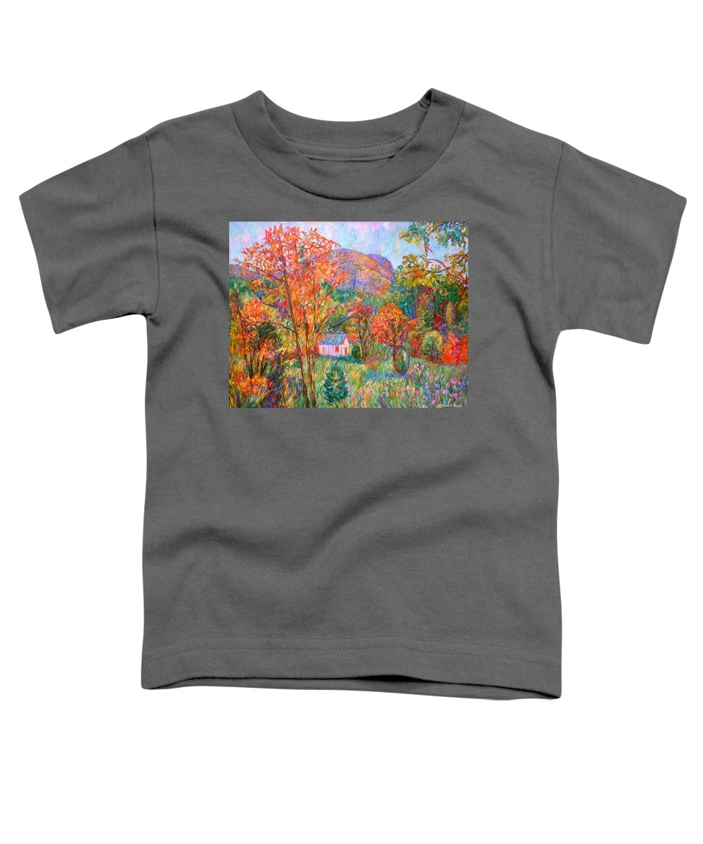 Landscape Toddler T-Shirt featuring the painting Buffalo Mountain In Fall by Kendall Kessler