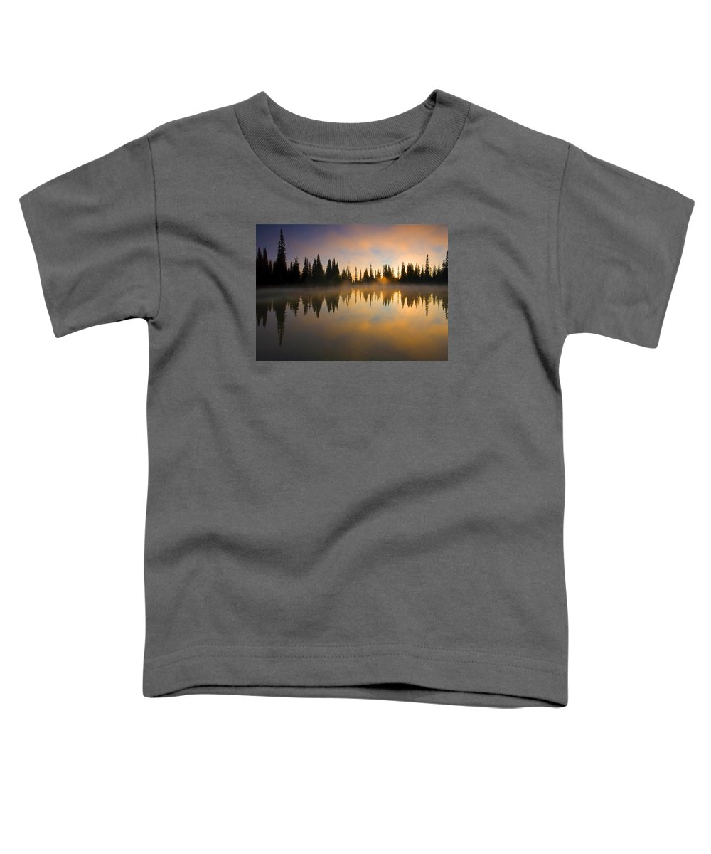 Lake Toddler T-Shirt featuring the photograph Burning Dawn by Mike Dawson