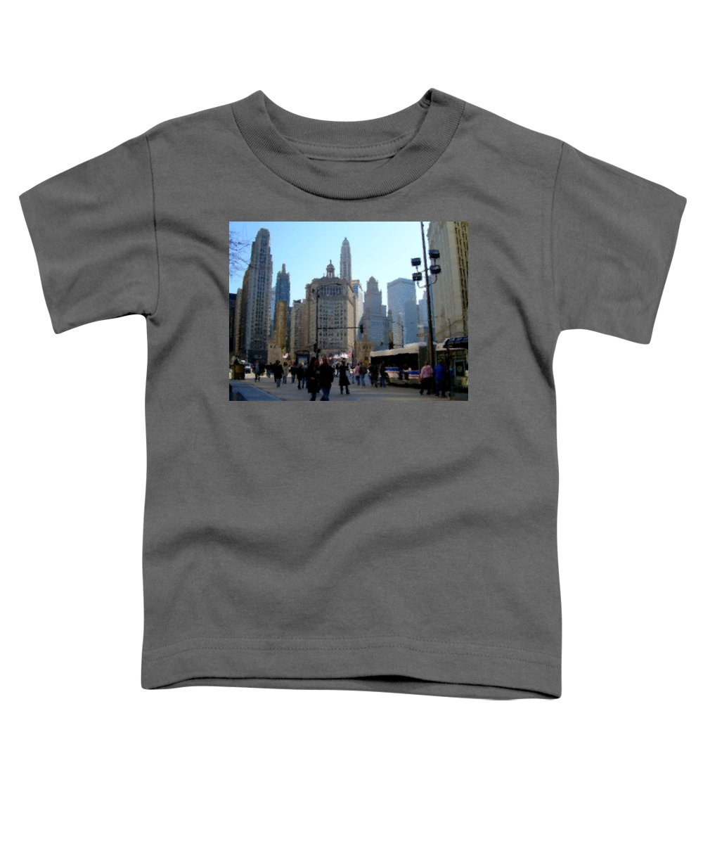 Archtecture Toddler T-Shirt featuring the digital art Bus On Miracle Mile by Anita Burgermeister
