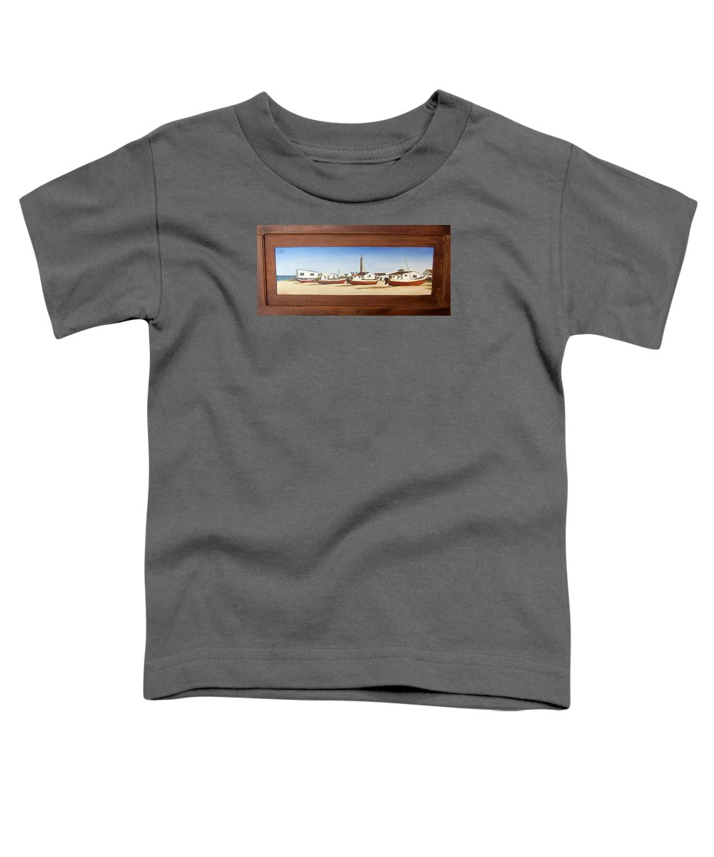 Landscape Seascape Uruguay Beach Boats Sea Lighthouse Toddler T-Shirt featuring the painting Cabo Polonio 2 by Natalia Tejera