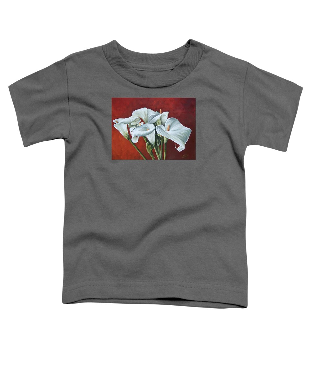 Calas Toddler T-Shirt featuring the painting Calas by Natalia Tejera