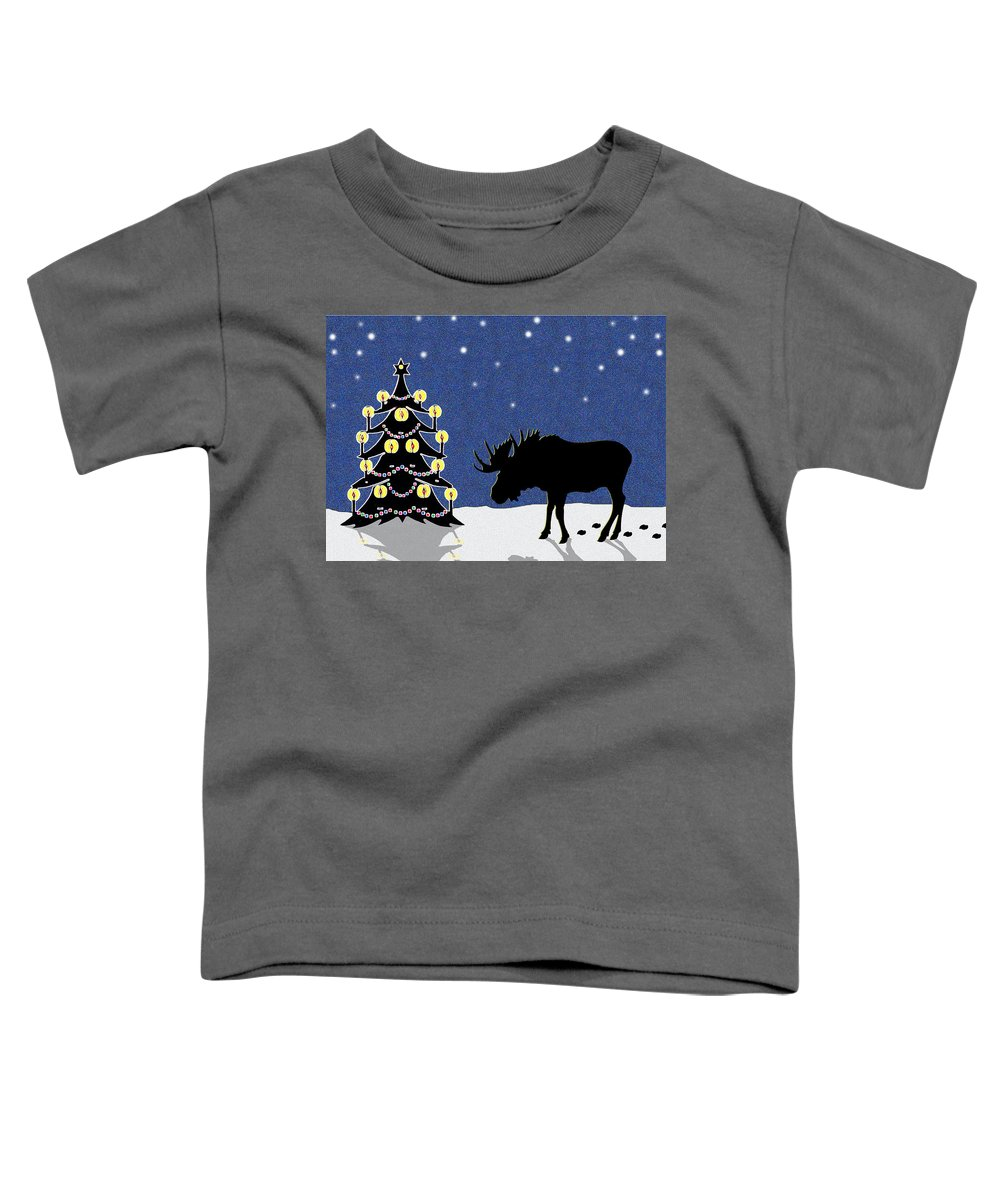 Moose Toddler T-Shirt featuring the digital art Candlelit Christmas Tree And Moose In The Snow by Nancy Mueller