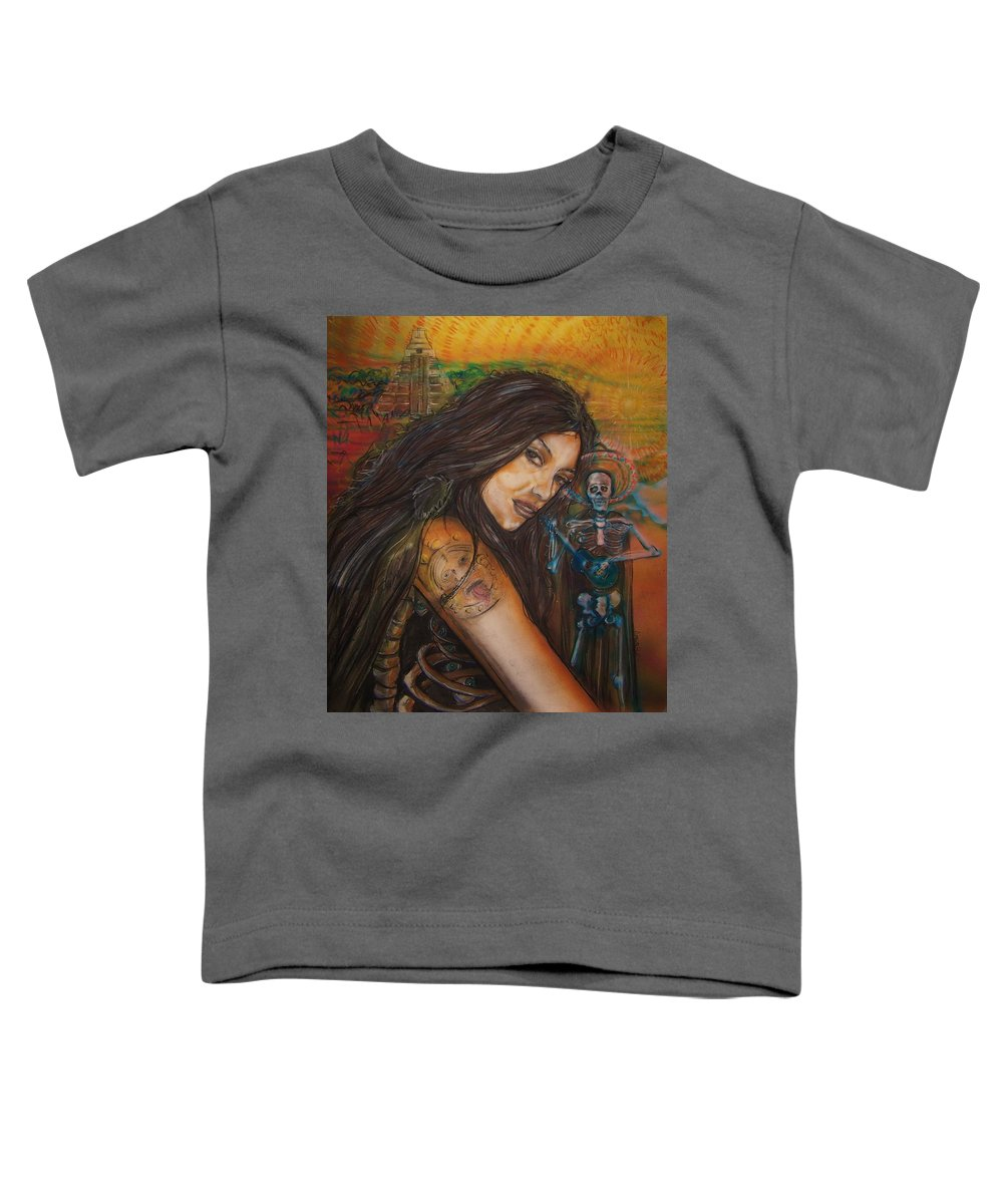 Skeleton Toddler T-Shirt featuring the painting Cantando A Nuestros Pecados by Americo Salazar