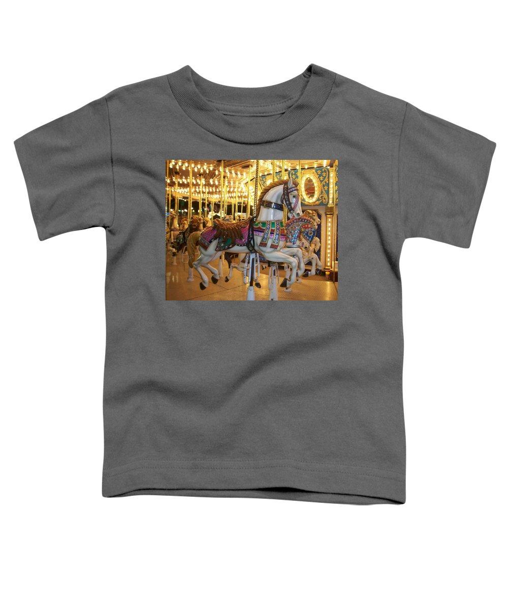 Carosel Horse Toddler T-Shirt featuring the photograph Carosel Horse by Anita Burgermeister