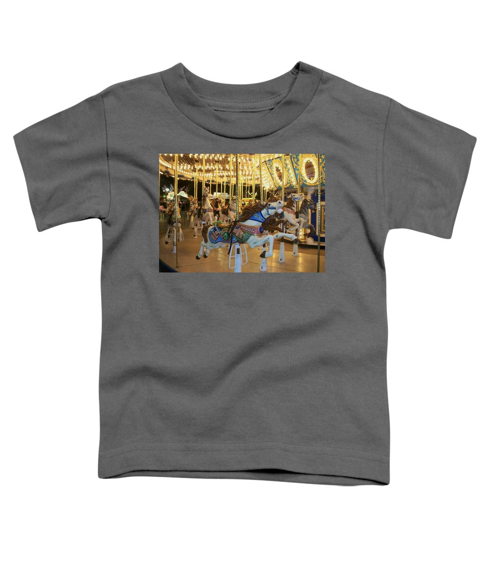 Carousel Horse Toddler T-Shirt featuring the photograph Carousel Horse 3 by Anita Burgermeister