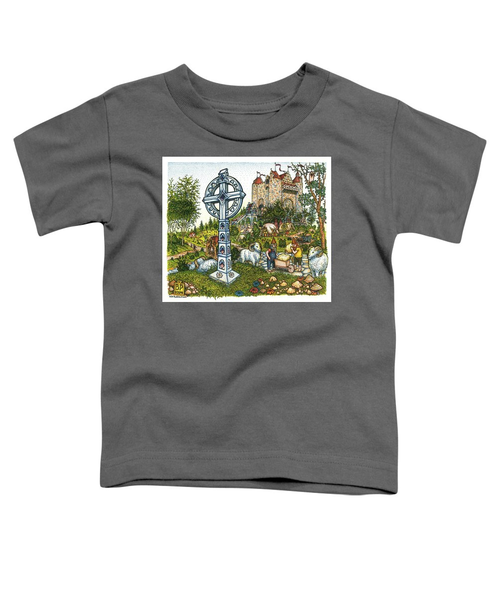 Castle Toddler T-Shirt featuring the drawing Castle Cross by Bill Perkins