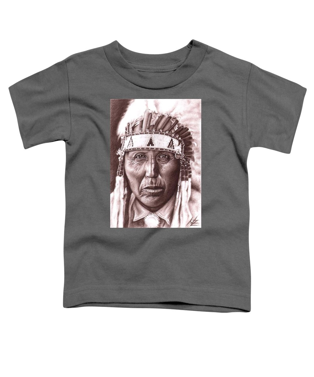 Indian Toddler T-Shirt featuring the drawing Cherokee by Nicole Zeug