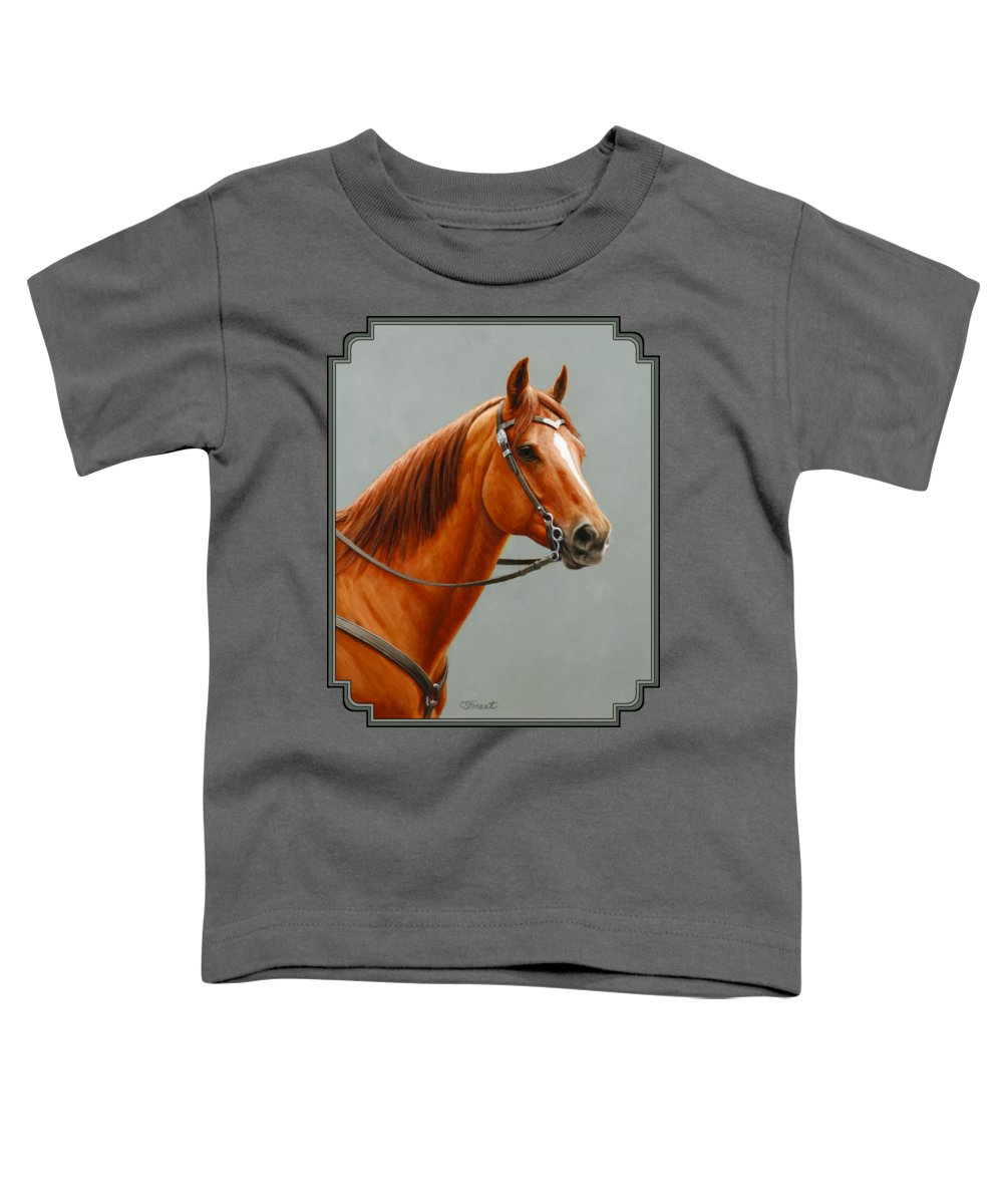 Horse Toddler T-Shirt featuring the painting Chestnut Dun Horse Painting by Crista Forest