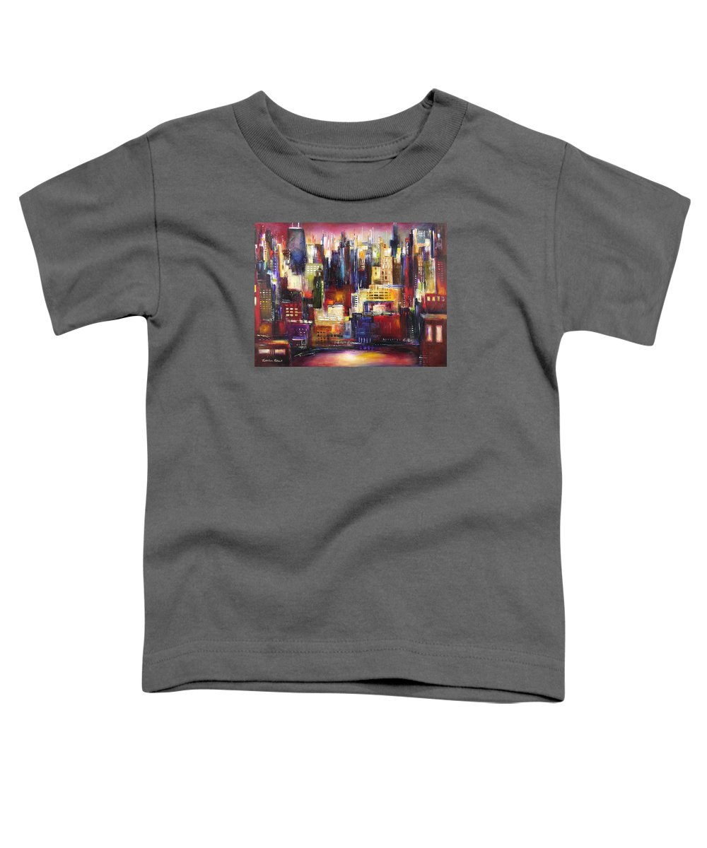 Chicago Art Toddler T-Shirt featuring the painting Chicago City View by Kathleen Patrick