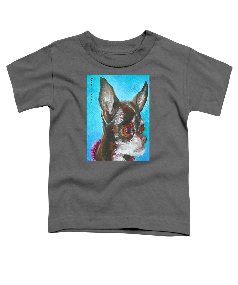 Dog Toddler T-Shirt featuring the painting Chili Chihuahua by Minaz Jantz