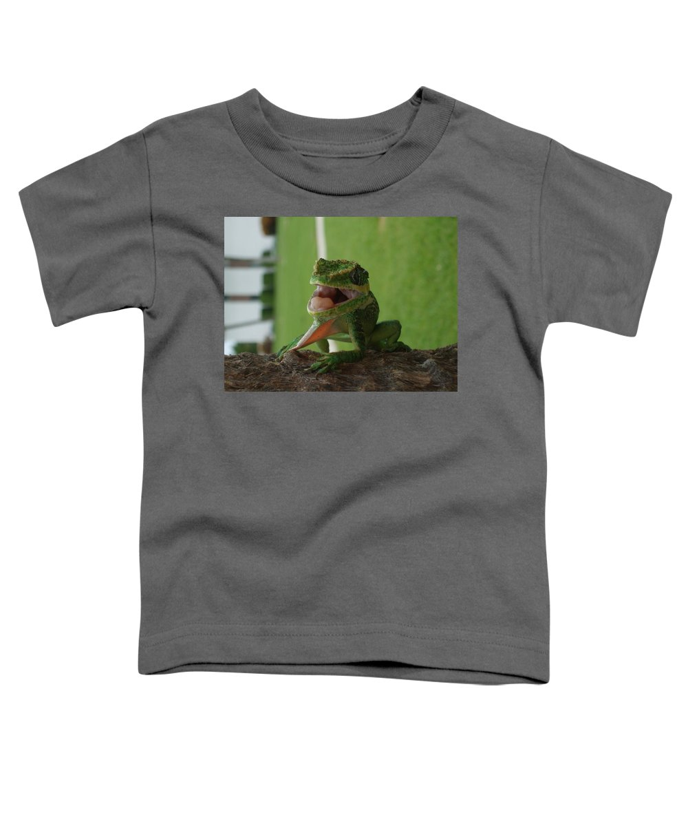 Iguana Toddler T-Shirt featuring the photograph Chilling On Wood by Rob Hans