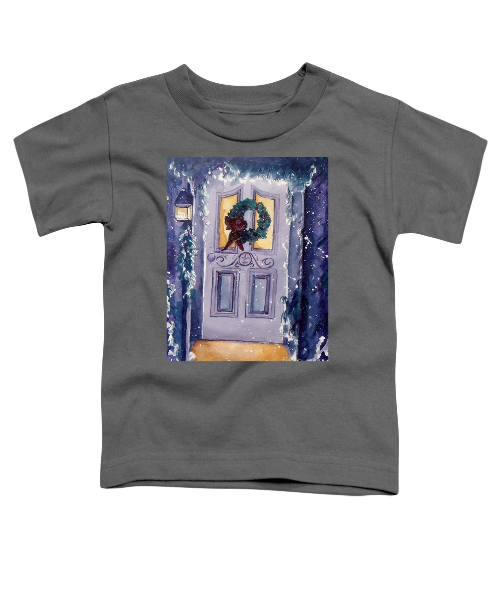 Holiday Scene Toddler T-Shirt featuring the painting Christmas Eve by Jan Bennicoff