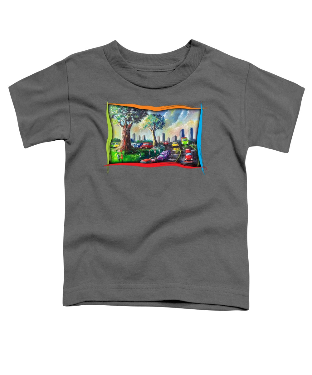 Nature Toddler T-Shirt featuring the painting City Life by Anthony Mwangi