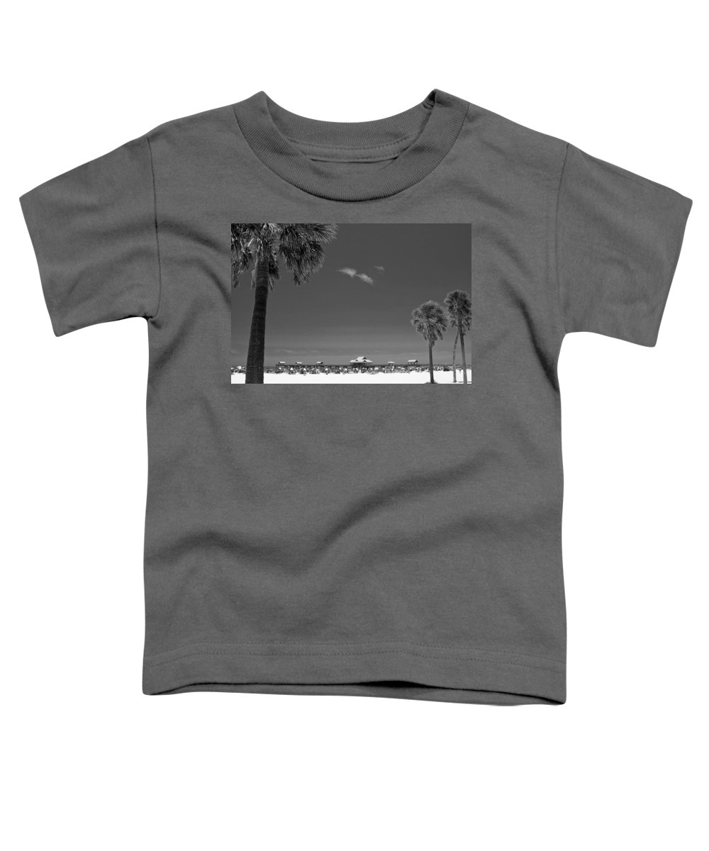 B&w Toddler T-Shirt featuring the photograph Clearwater Beach Bw by Adam Romanowicz