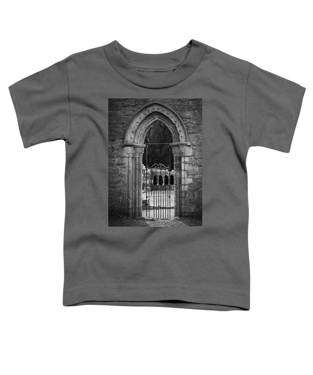 Irish Toddler T-Shirt featuring the photograph Cloister View Cong Abbey Cong Ireland by Teresa Mucha