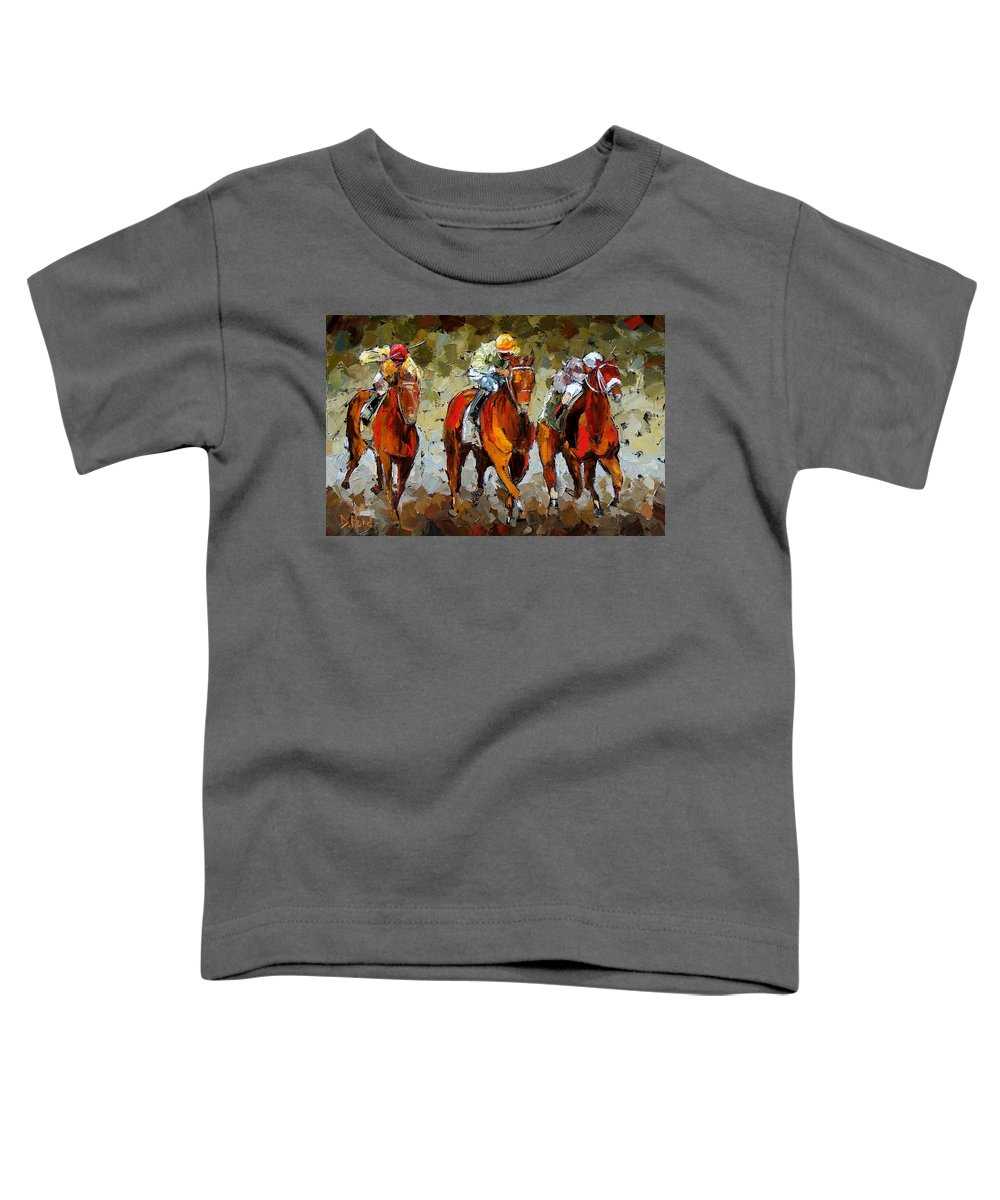Horses Toddler T-Shirt featuring the painting Close Race by Debra Hurd