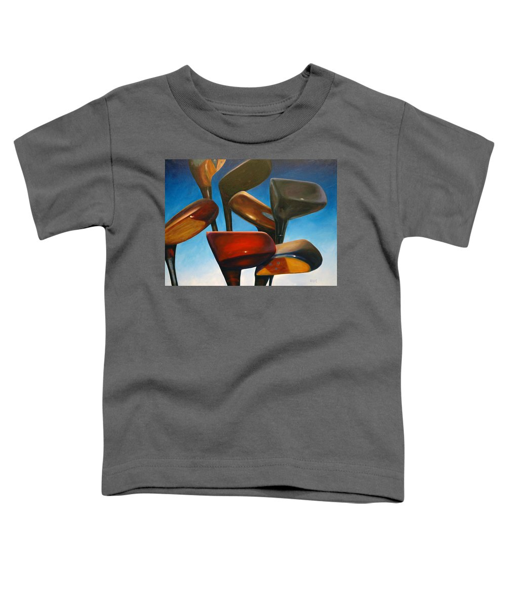 Golf Clubs Brown Toddler T-Shirt featuring the painting Clubs Rising by Shannon Grissom