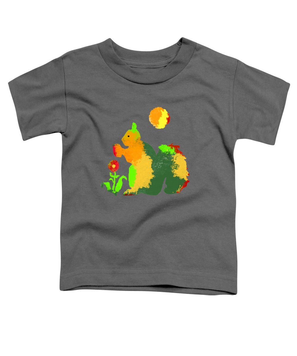 Squirrel Toddler T-Shirt featuring the digital art Colorful Squirrel 1 by Holly McGee