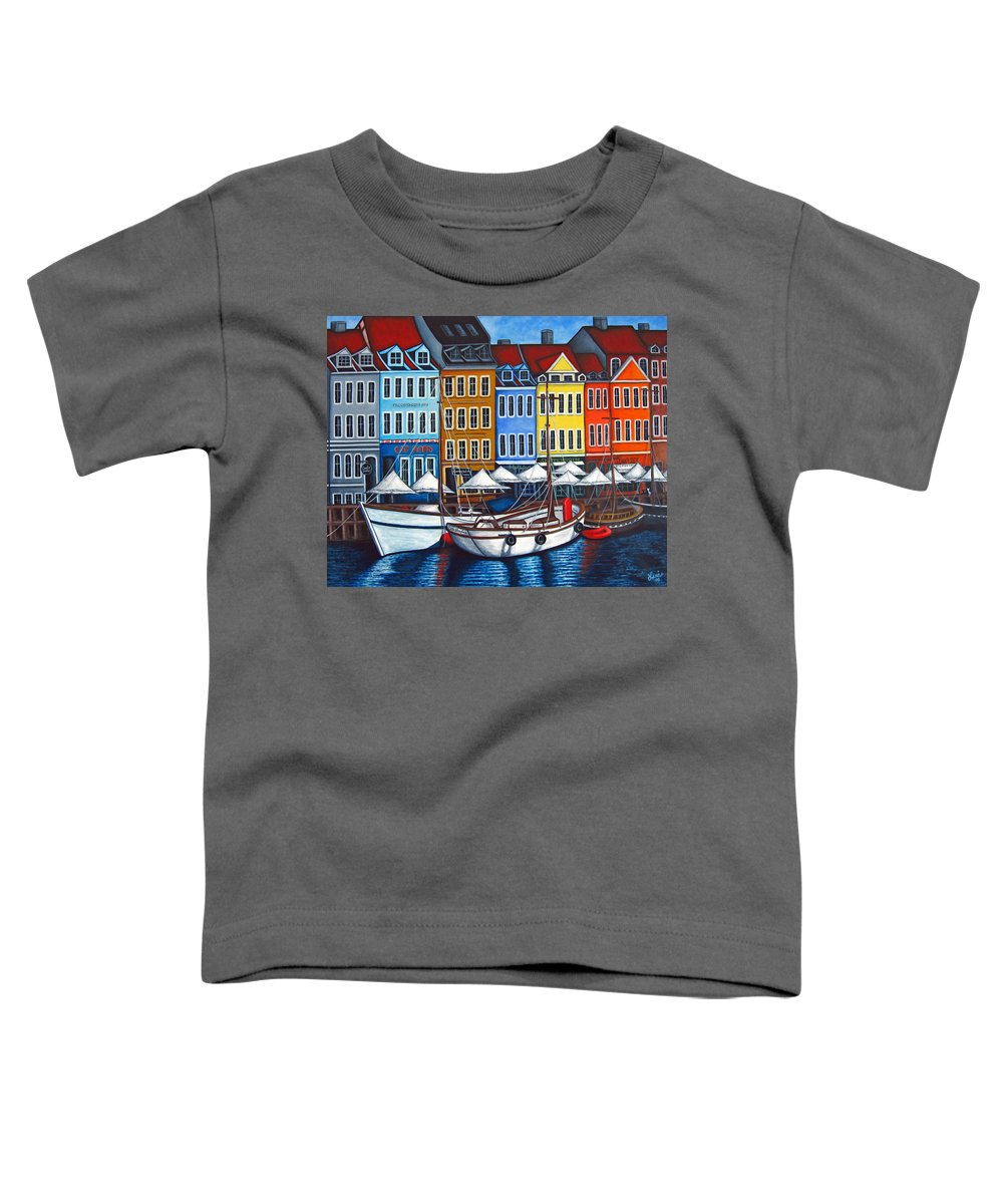 Nyhavn Toddler T-Shirt featuring the painting Colours Of Nyhavn by Lisa Lorenz