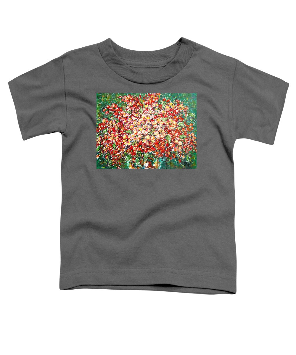 Flowers Toddler T-Shirt featuring the painting Cottage Garden Flowers by Natalie Holland